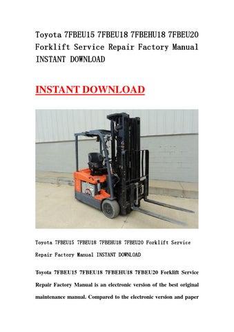 toyota 7fbeu15 7fbeu18 7fbehu18 7fbeu20 forklift service repair rh issuu com Service ManualsOnline Customer Service Books