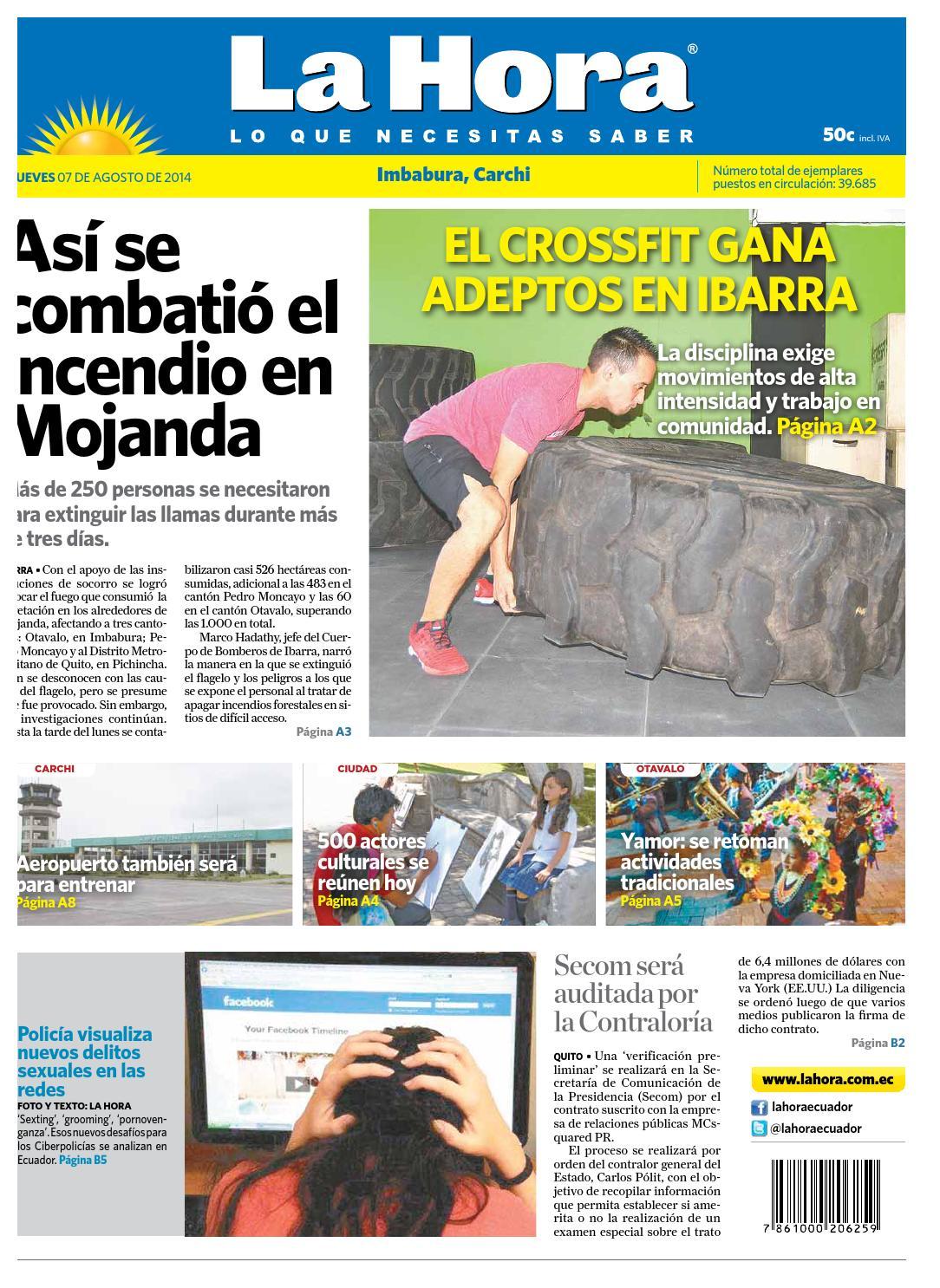 Imbabura 7 agosto 2014 by Diario La Hora Ecuador - issuu 0d30b708ecb0b