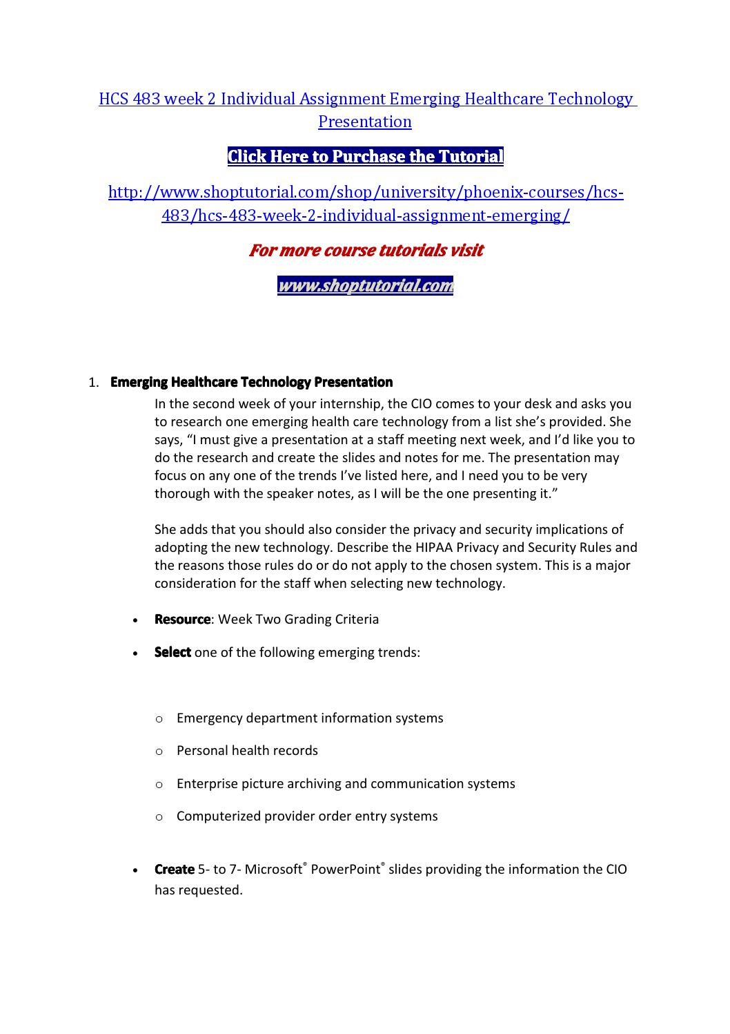 Hcs 483 week 2 individual assignment emerging healthcare