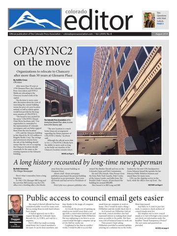 August 2014 Colorado Editor by Colorado Press Association