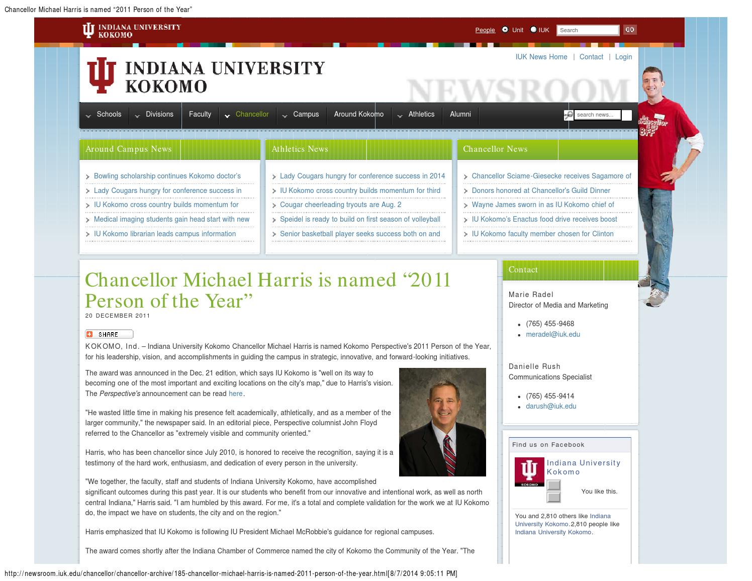 Iuk Campus Map.Chancellor Michael Harris Recognized Person Of The Year Chancellor