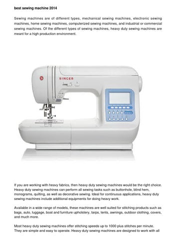 Sewing Machine Reviews By Alfred Mcguirk Issuu Beauteous Best Sewing Machine For The Money 2014