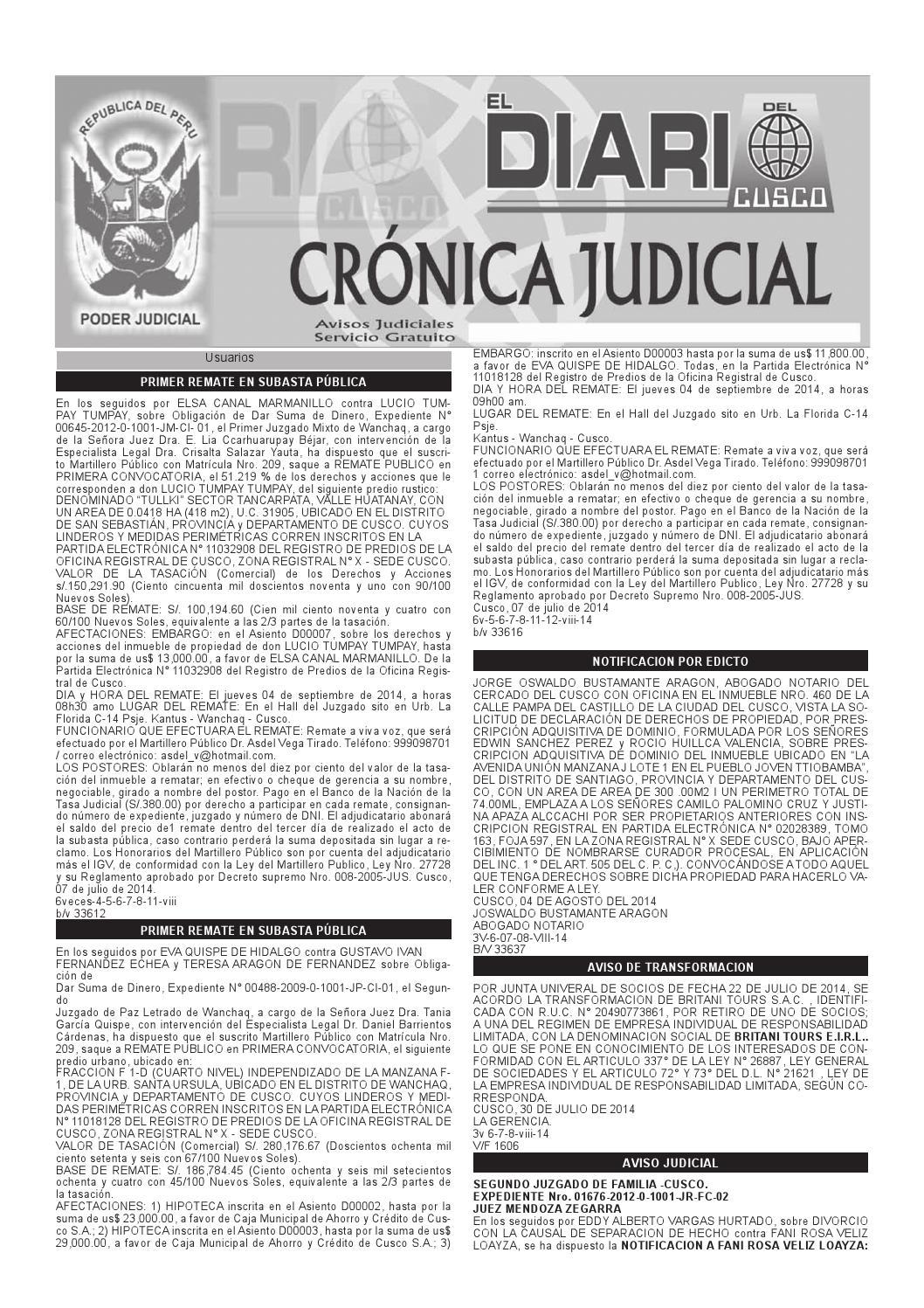 Avisos Judiciales 08 08 14 by El Diario del Cusco - issuu