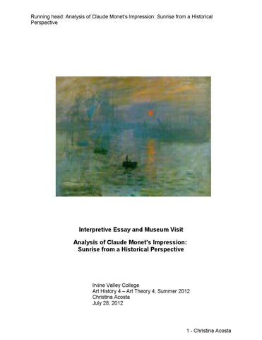 analysis of impression sunrise 1872 monet Impression, sunrise, c1872 art print by claude monet find art you love and shop high-quality art prints, photographs, framed artworks and posters at artcom 100% satisfaction guaranteed.