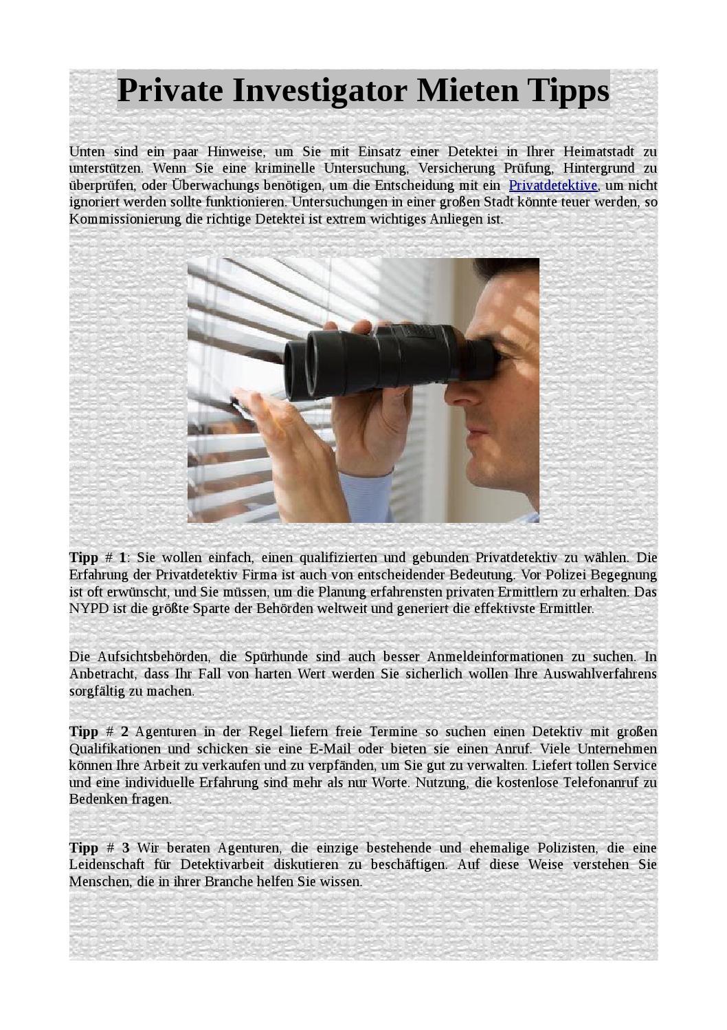 private investigator mieten tipps by adwardjoseph issuu. Black Bedroom Furniture Sets. Home Design Ideas
