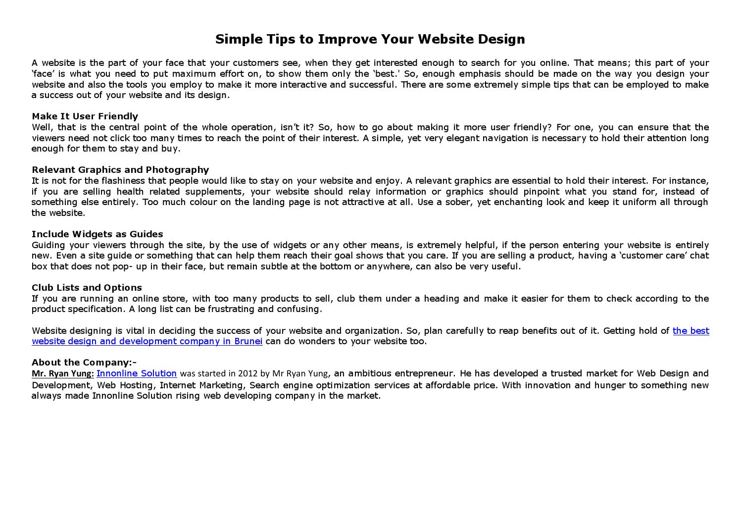 Simple tips to improve your website design by Innonline
