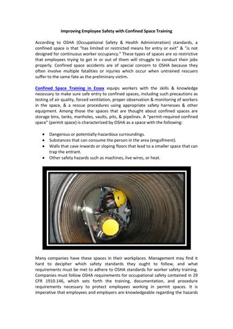 Improving Employee Safety with Confined Space Training by