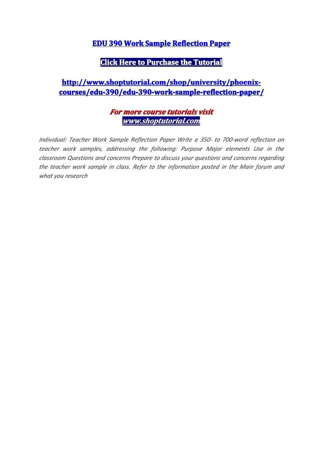 writing a reflection paper example
