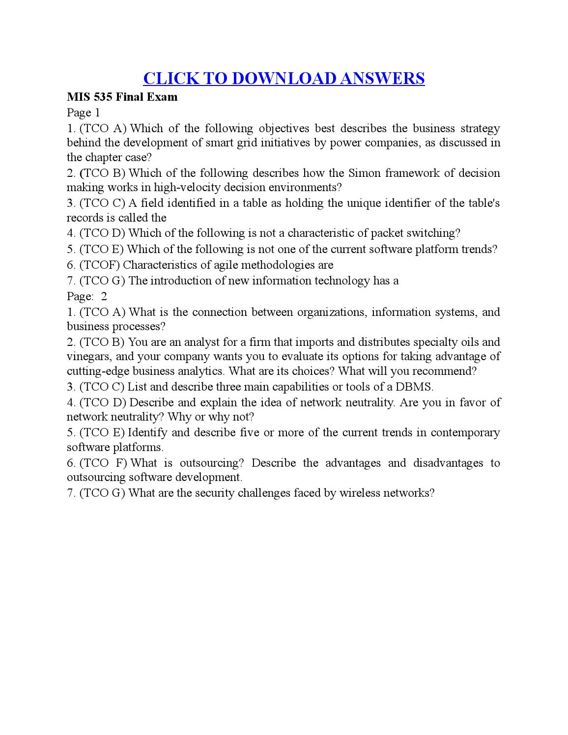 ACC 491 Week 1 DQ 2 Answer