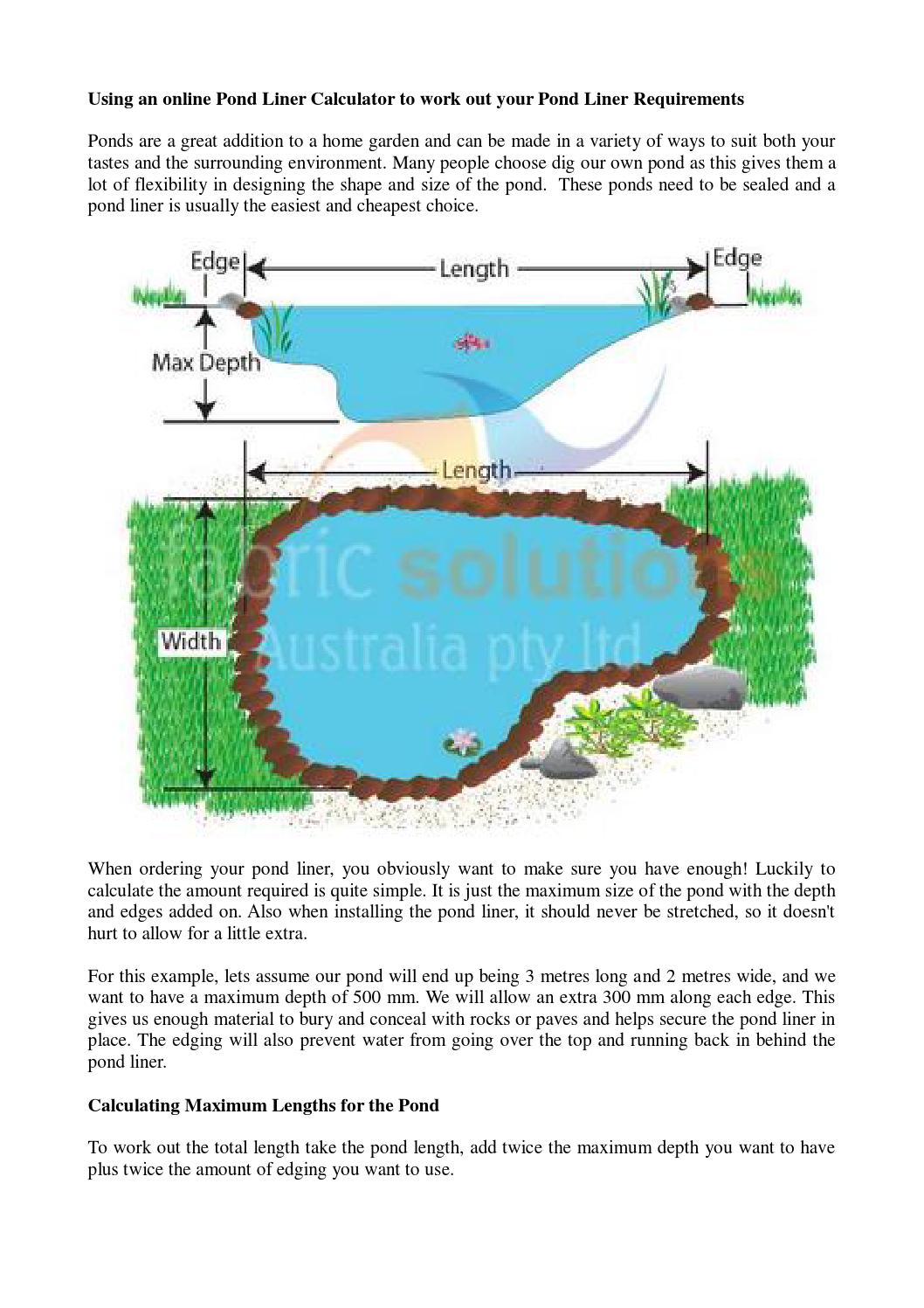 Using an online pond liner calculator to work out your for Pond liner calculator