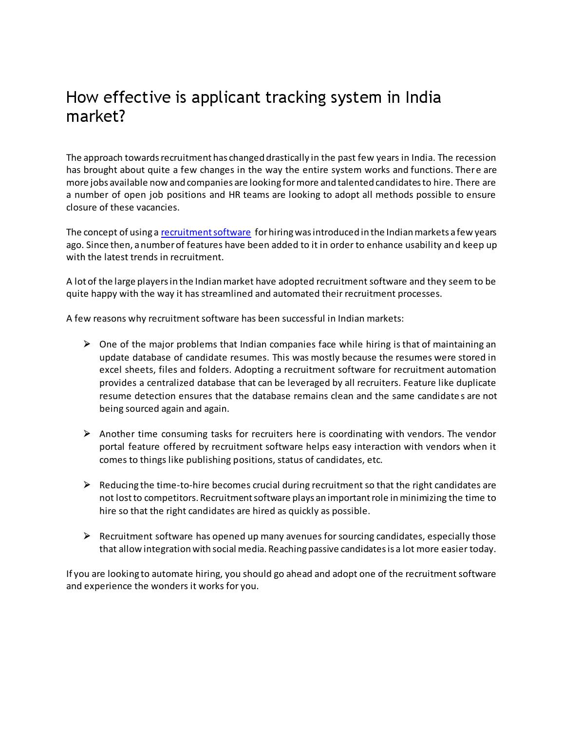 How effective is applicant tracking system in india market by ...