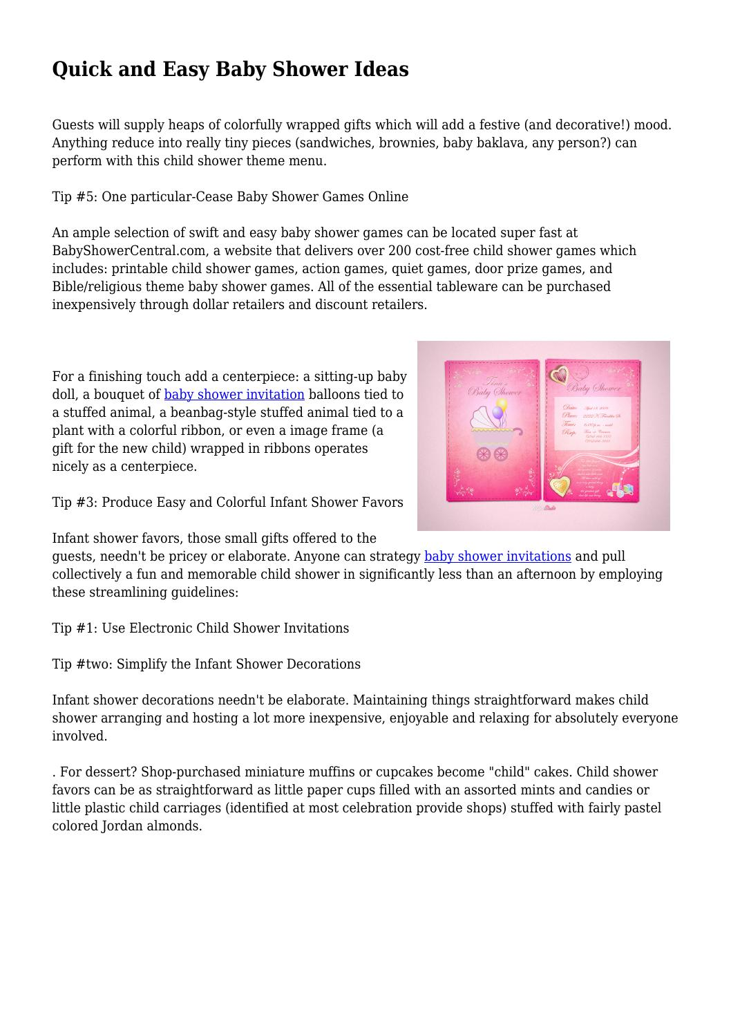 Quick And Easy Baby Shower Ideas By Likeableexcerpt91 Issuu
