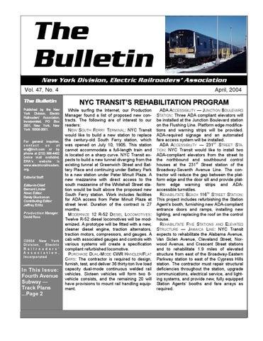Mta Subway Map 101 2001.The Era Bulletin 2004 04 By Era Issuu