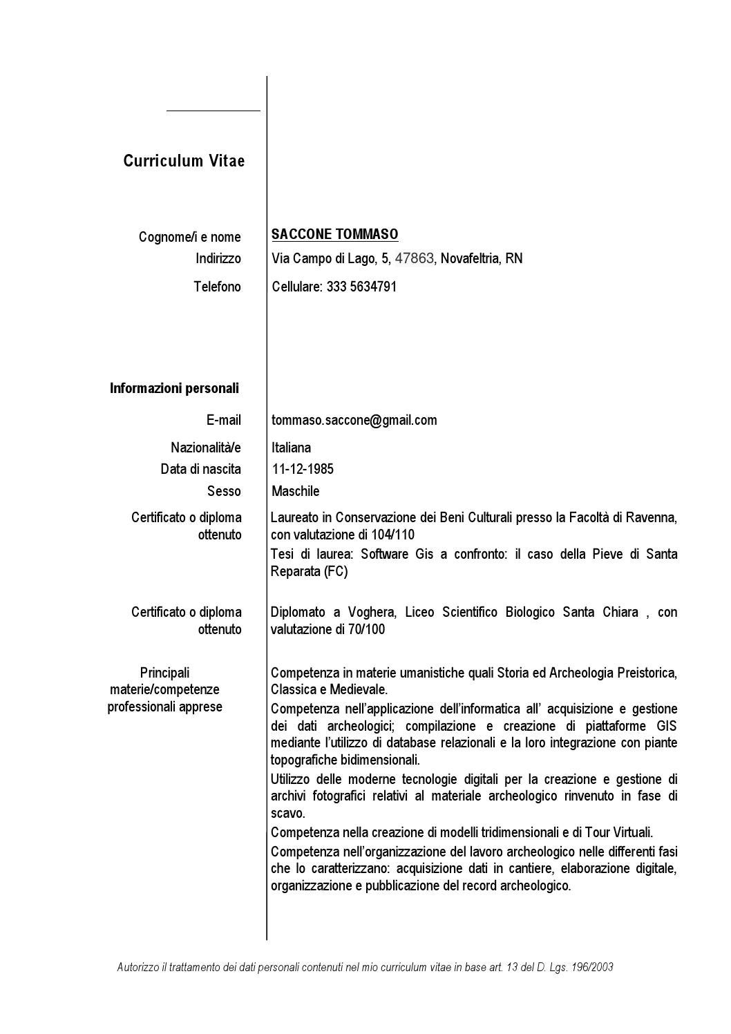 Curriculum Vitae Tommaso Saccone By OS Culture Issuu