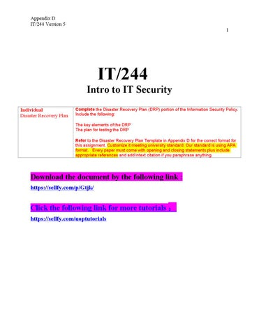 it 244 appendix d disaster Disaster recovery plan 112 internal, external, and environmental risks briefly discuss the internal, external, and environmental risks, which might be likely to affect the business and result in loss of the facility, loss of life, or loss of assets.
