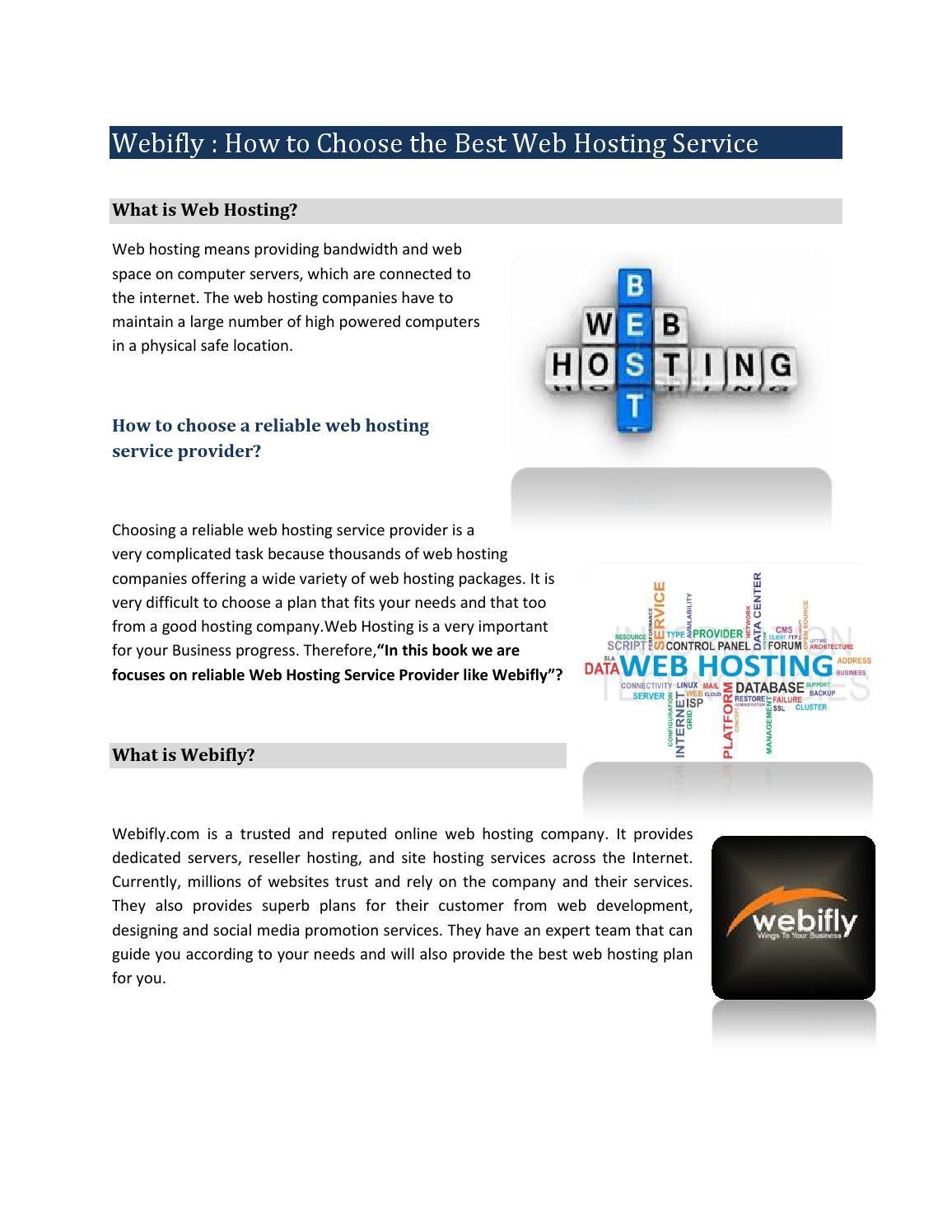 Webifly How To Choose The Best Web Hosting Service By Alik1990 Issuu