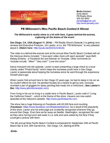 pb millionaire s miss pacific beach contest The pb reality show 84,645 likes 281 talking about this the pb reality show (pb = pacific beach) was conceived by several of jim's assistants who.