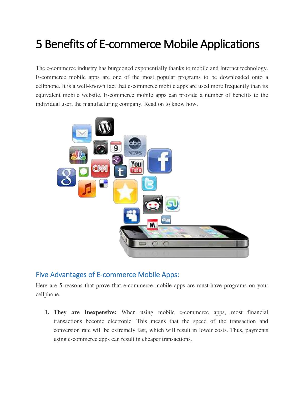 5 benefits of e commerce mobile applications by chris for E commerce mobili