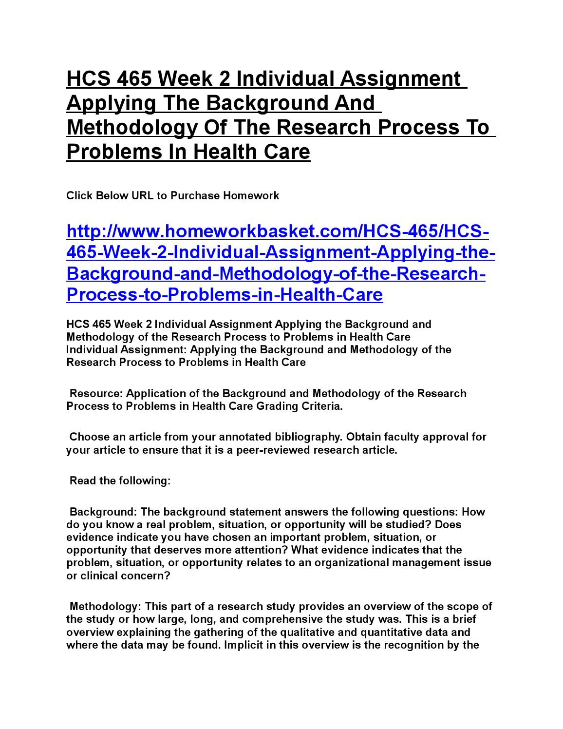 HCS 465 Week 4 Individual Assignment - Evaluating the Research Process