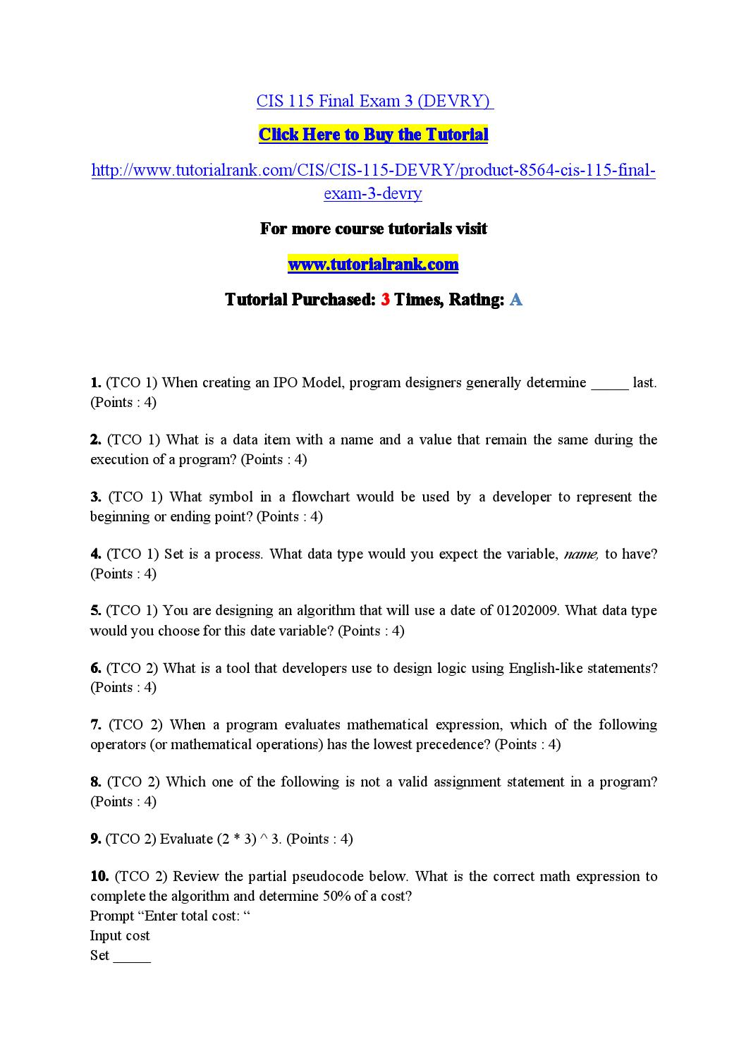 Cis 115 final exam 3 by channel27 issuu biocorpaavc Gallery