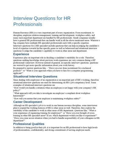 Interview Questions For Hr Professionals By Job Reset Issuu