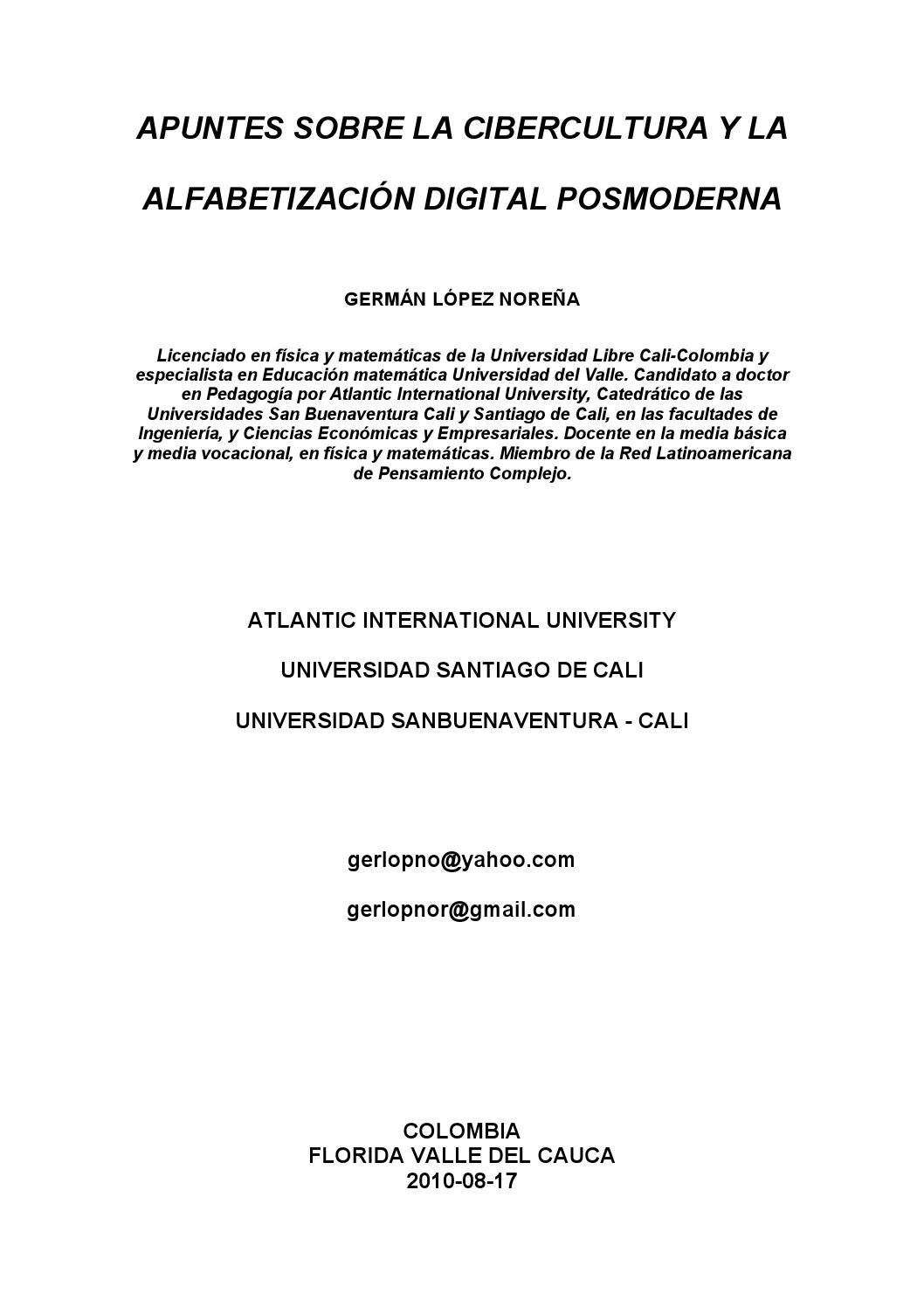 Apuntes sobre la cibercultura y la alfabetizacion digital posmoderna ...