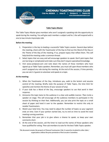 Guidelines Tt Master By Chennai Toastmasters Club Issuu