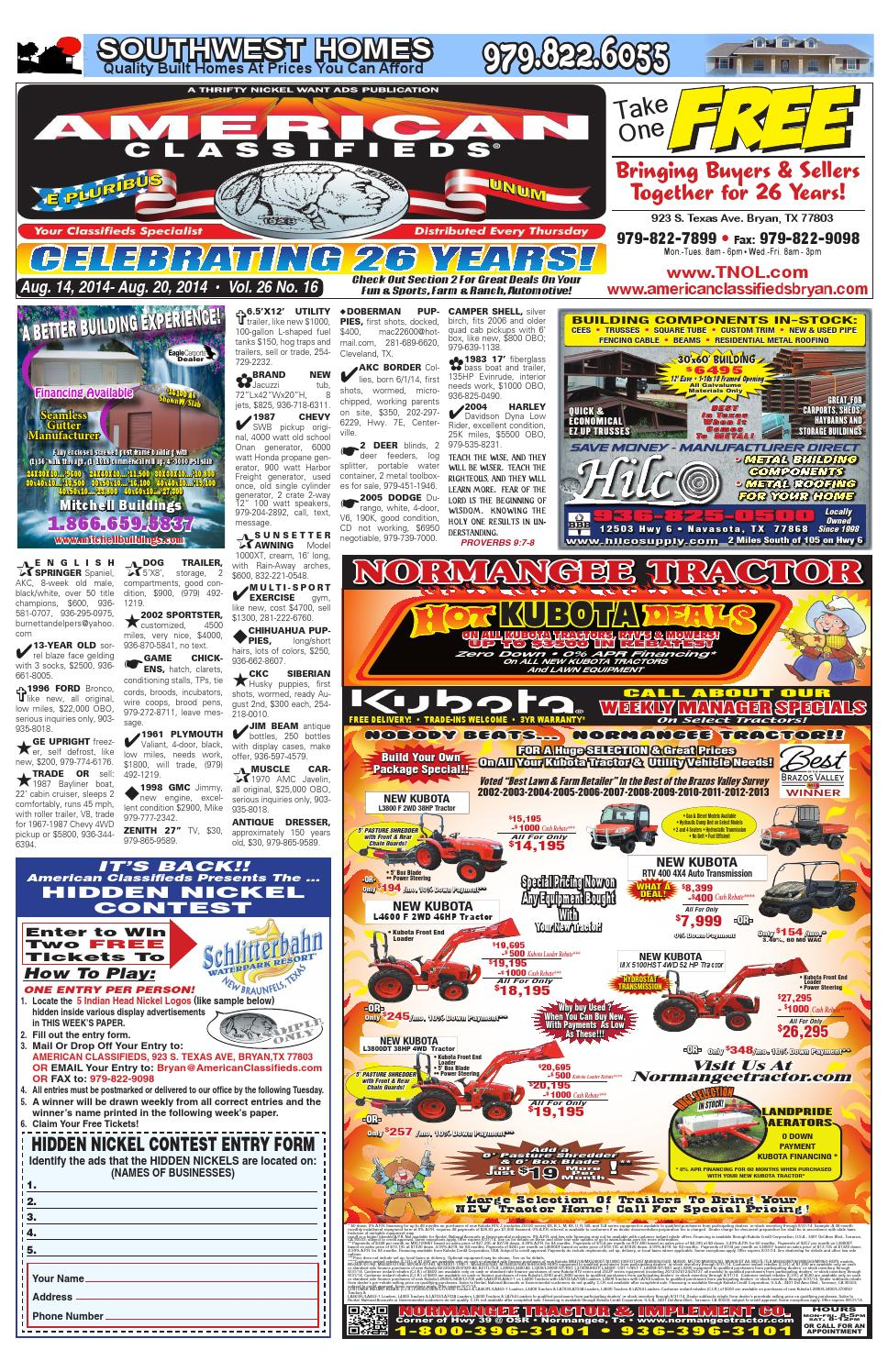 American Classifieds August 14th Edition Bryan/College
