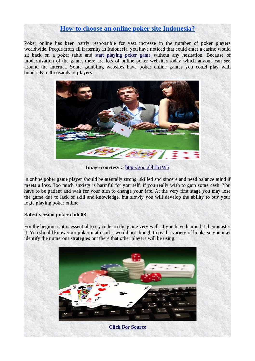 How To Choose An Online Poker Site Indonesia By Edwinbutlar Issuu