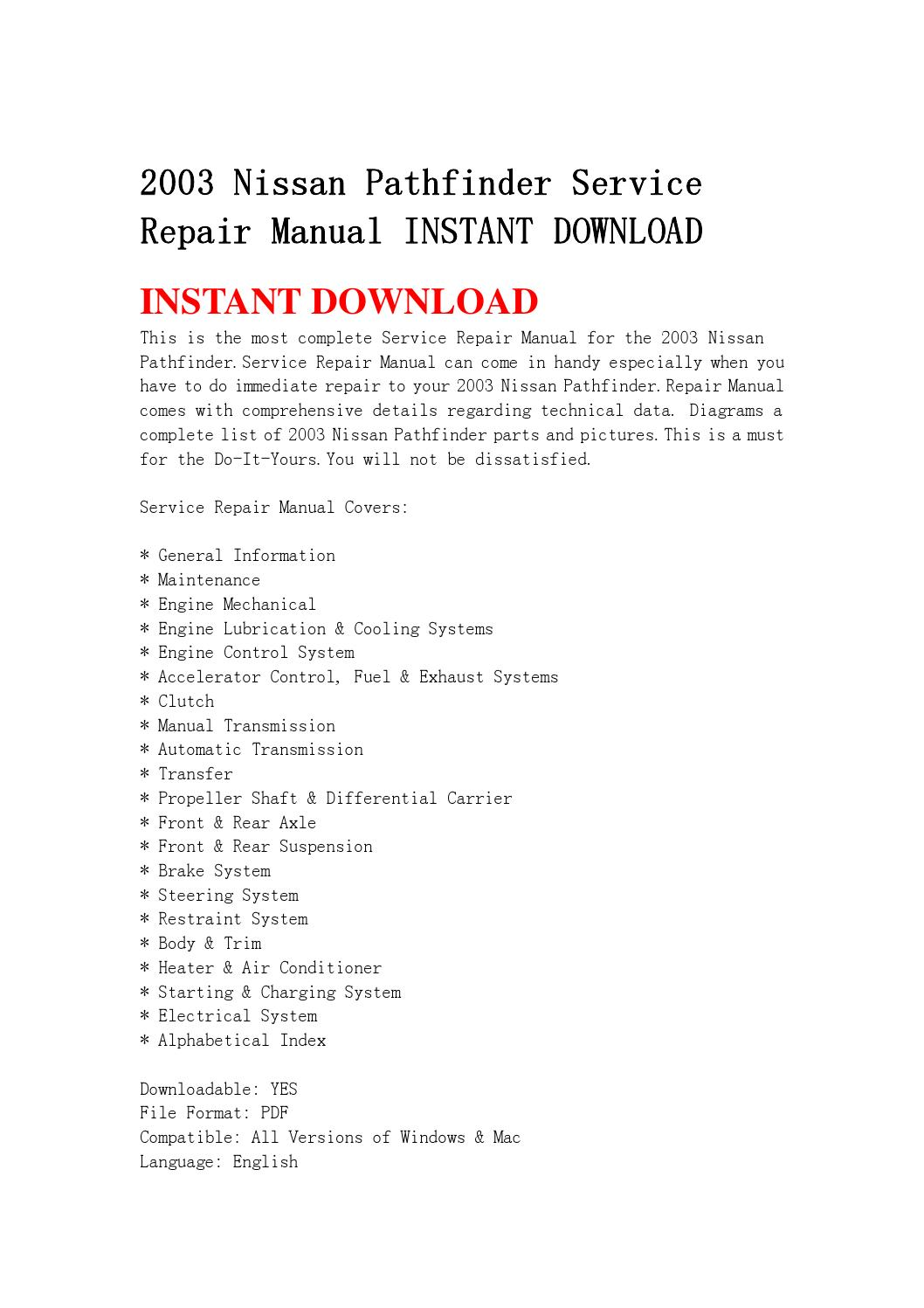 Repair Nissan Pathfinder Clutch Diagram Electrical Wiring Diagrams Saab Transmission 2003 Service Manual Instant Download By 900