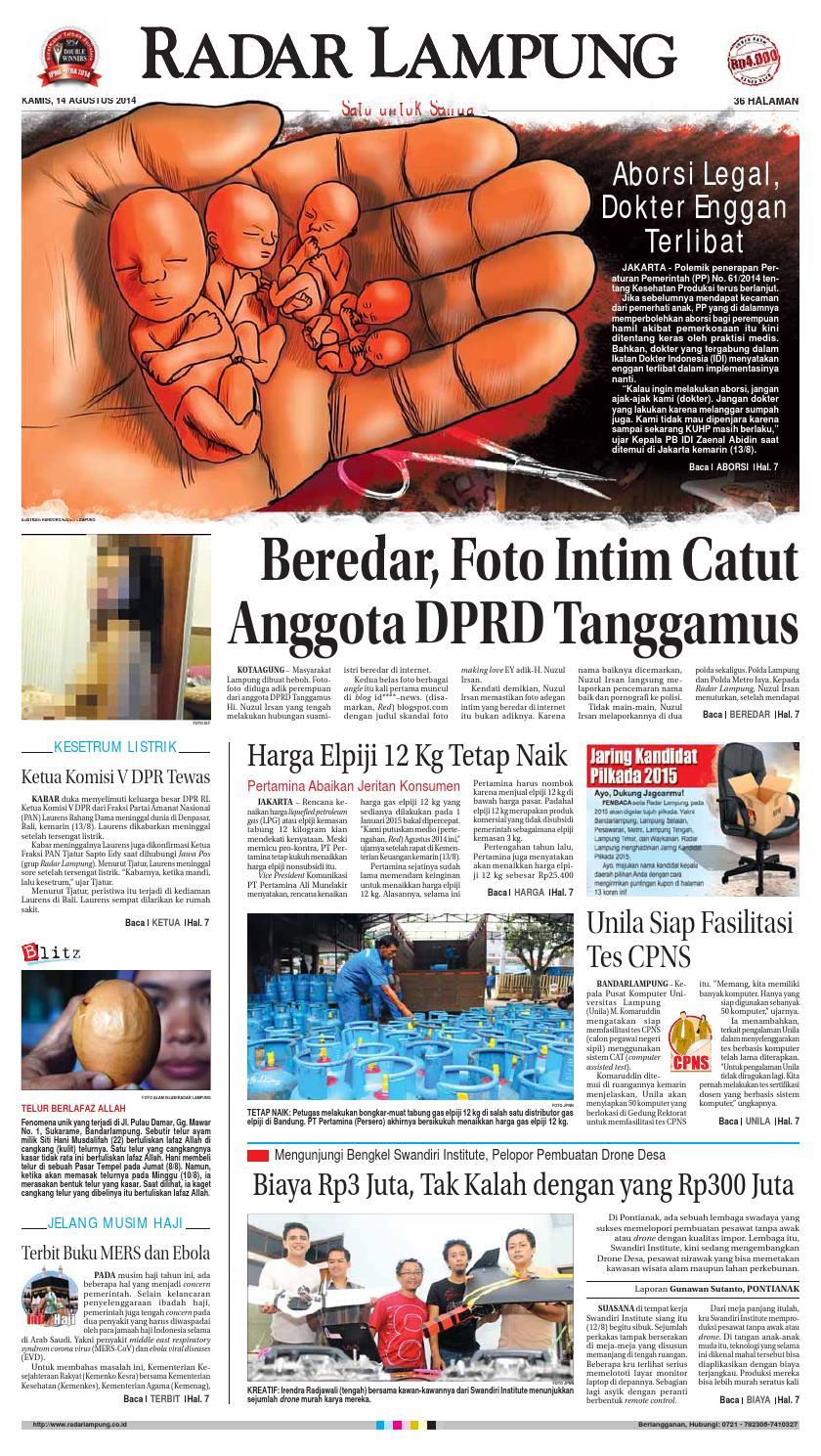Radar Lampung Kamis 14 Agustus 2014 By Ayep Kancee Issuu Produk Ukm Bumn Barbekyu Kelitik Surabaya