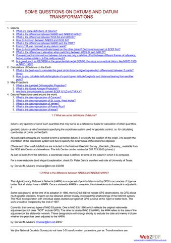 Questions answers datums datum transformations