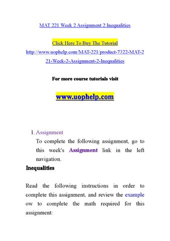 math 221 bmi inequalities Read this essay on math 221 entire course assignments come browse our large digital warehouse of free sample essays  mat 221 week 2 assignment 2 inequalities the .