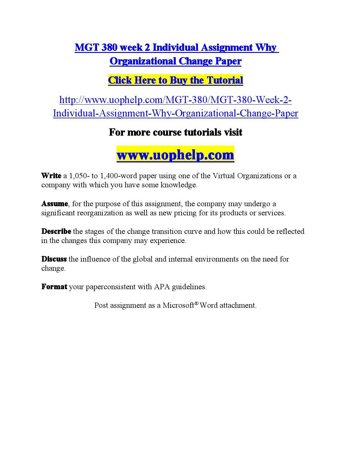 Mgt 380 week 2 individual assignment why organizational