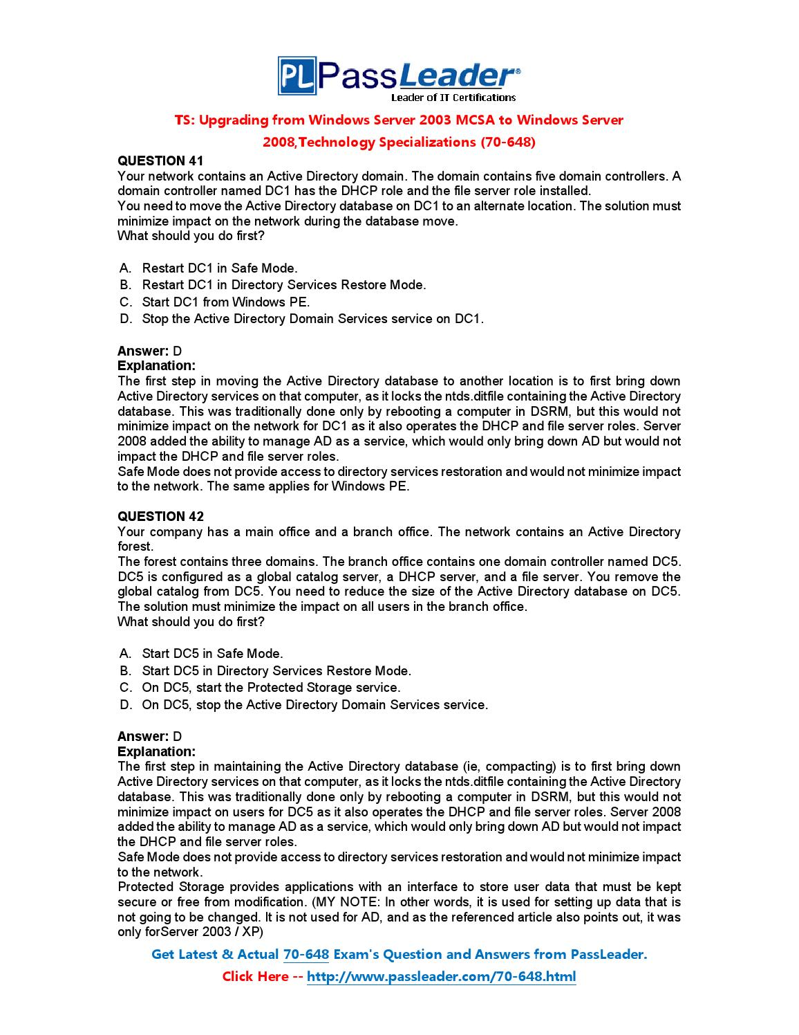 Free Download 100 Percent Real 70 648 Exam Questions 41 60 By Ubliing