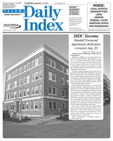 Tacoma Daily Index, August 14, 2014 by Sound Publishing ...