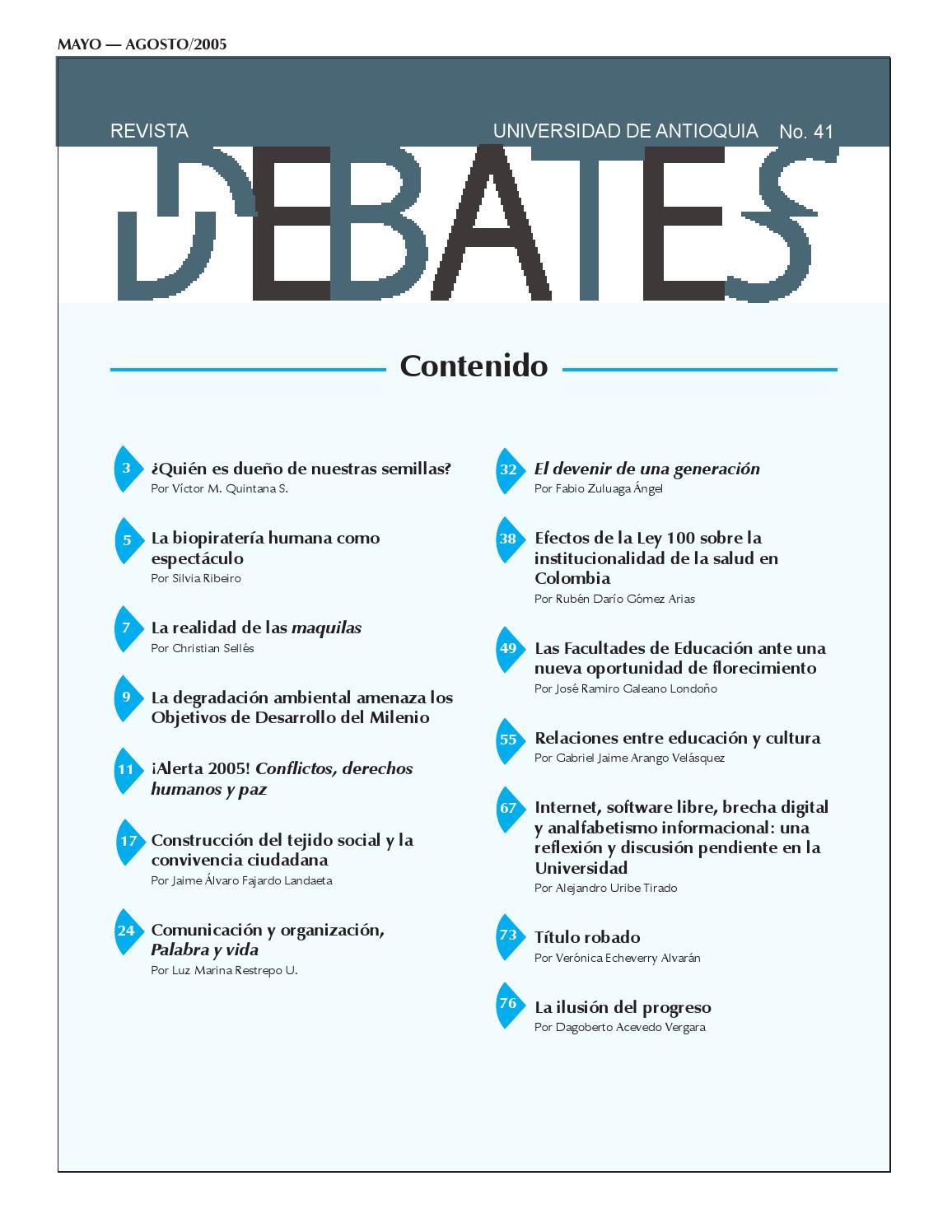 REVISTA DEBATES N° 41 by Universidad de Antioquia - issuu