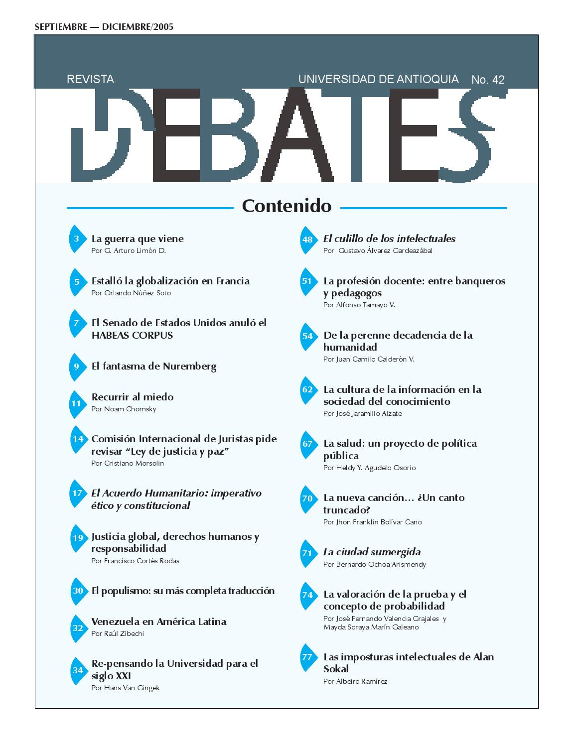 REVISTA DEBATES N° 42 by Universidad de Antioquia - issuu