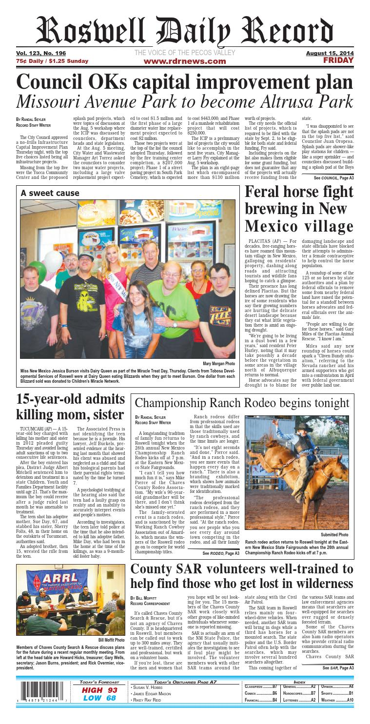 08 15 14 Roswell Daily Record By Issuu Rodeo Bundling 1 Navy M