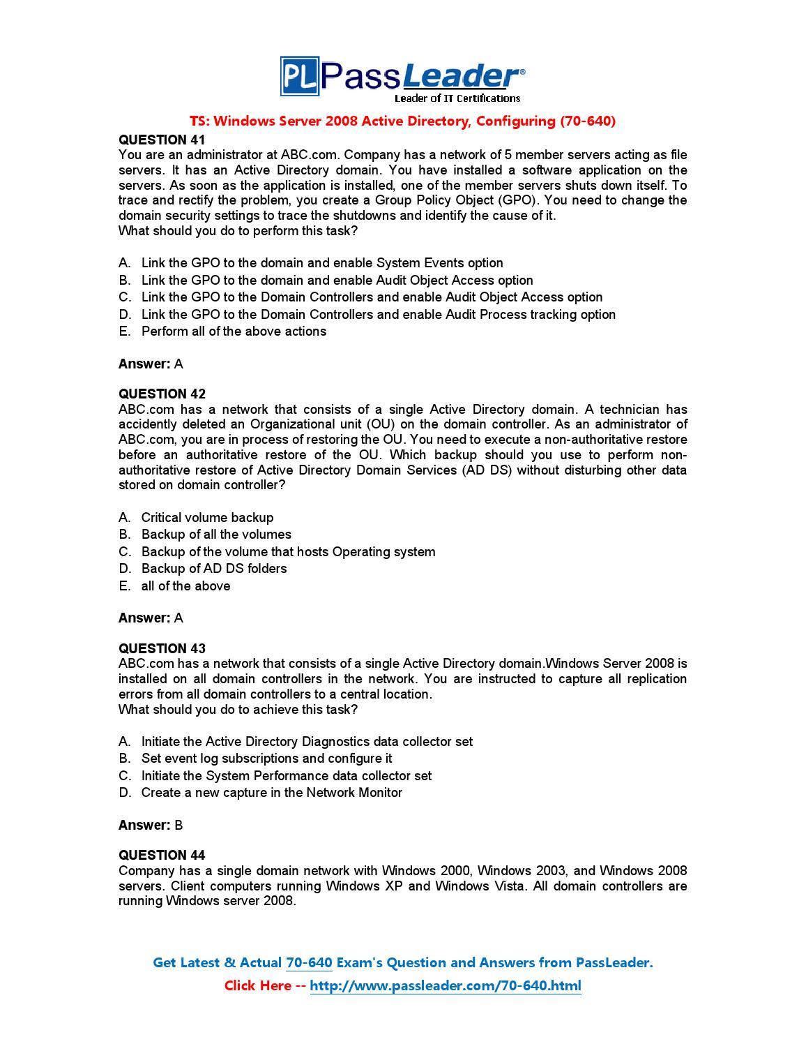 2008 directory active pdf windows 70-640 server