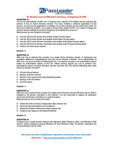 Passleader 70-640 exam pdf file for free download (41-60) by.