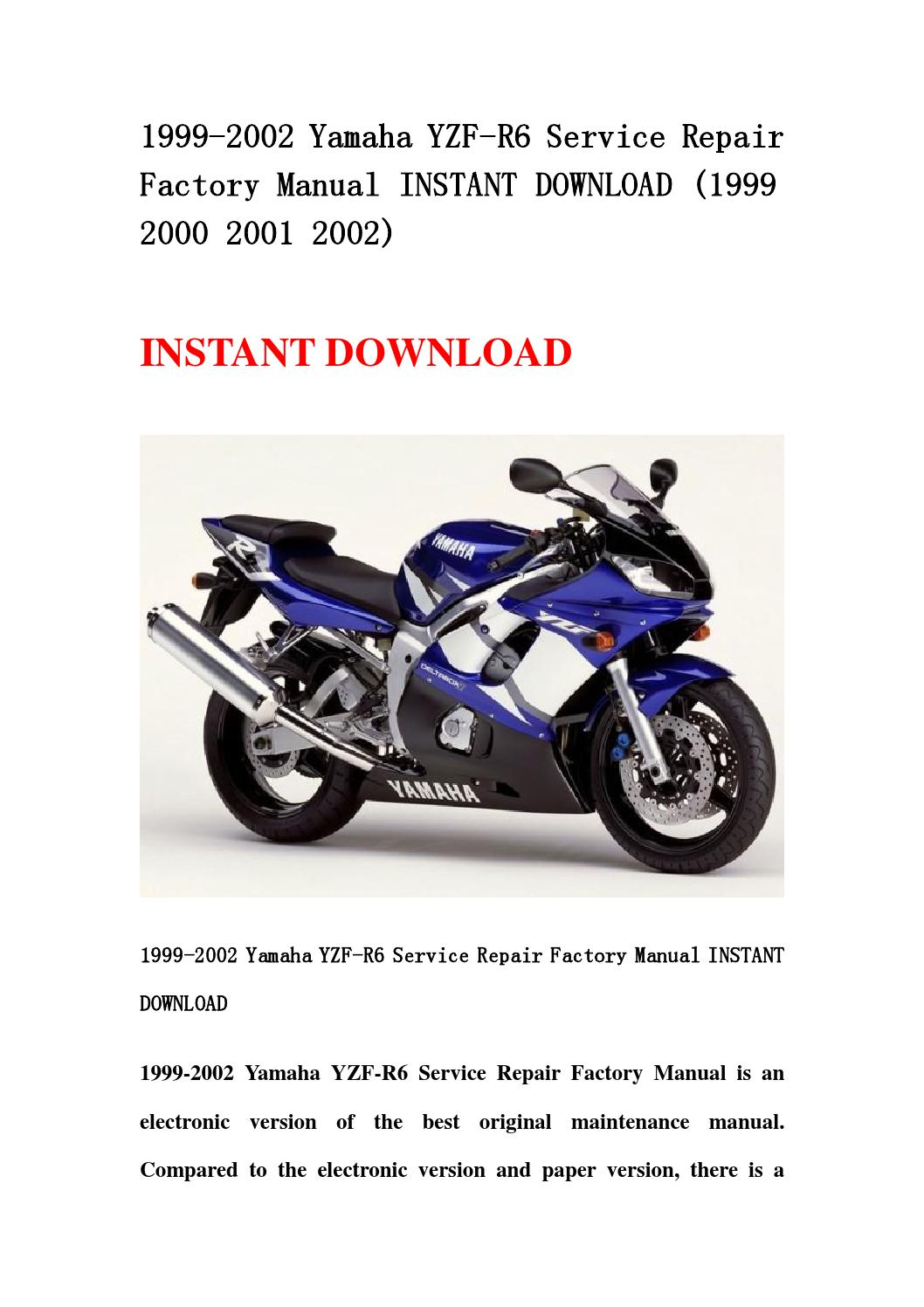 1999 2002 yamaha yzf r6 service repair factory manual
