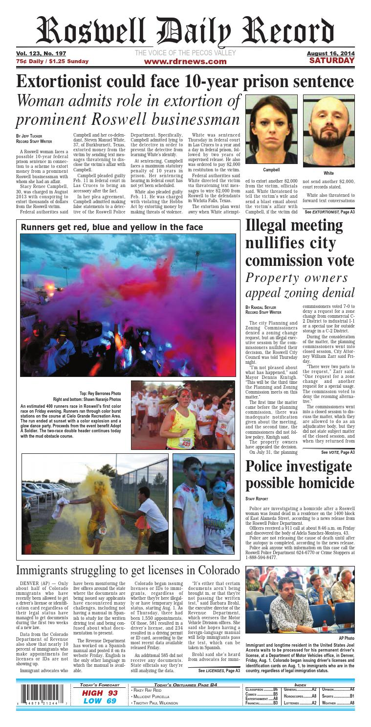 08 16 14 Roswell Daily Record by Roswell Daily Record - issuu