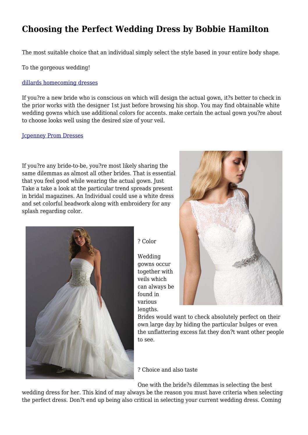 Choosing the Perfect Wedding Dress by Bobbie Hamilton by ...