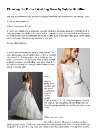 Choosing the Perfect Wedding Dress by Bobbie Hamilton by ...