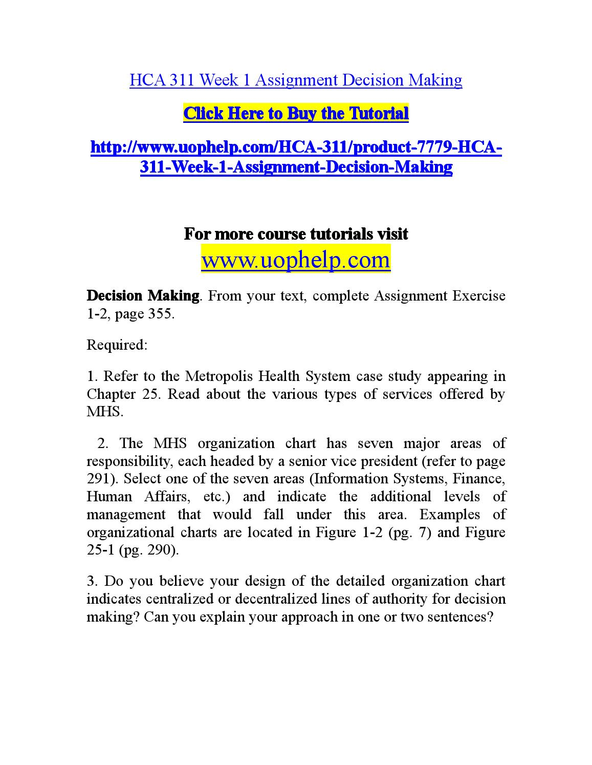hca week one mhs assignment Can you explain your approach in one or two sentences  hca 311 week 3 assignment mhs analysis $1000 quick view add to cart hca 311 week 4 assignment operating .