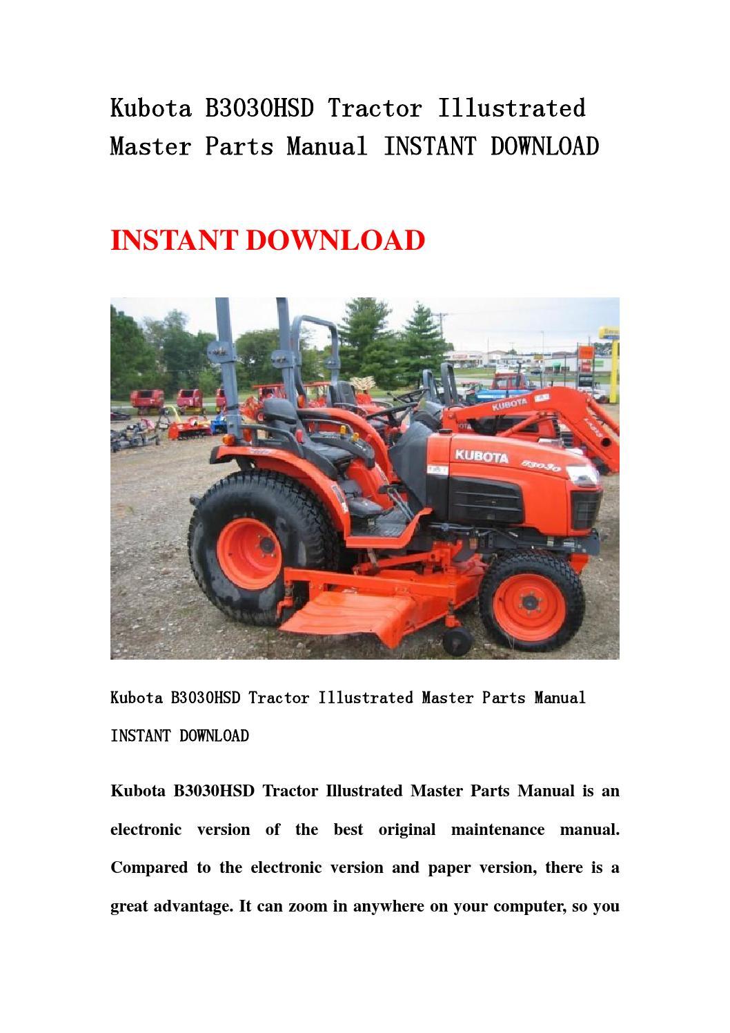 Top Link Kubota Parts : Kubota b hsd tractor illustrated master parts manual