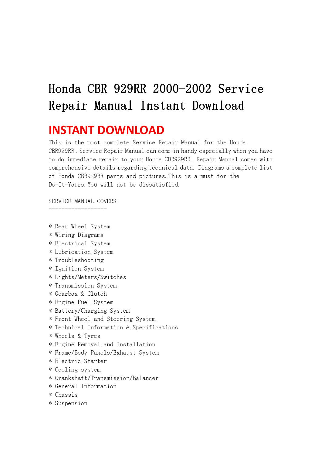 Honda cbr 929rr 2000 2002 service repair manual instant download by