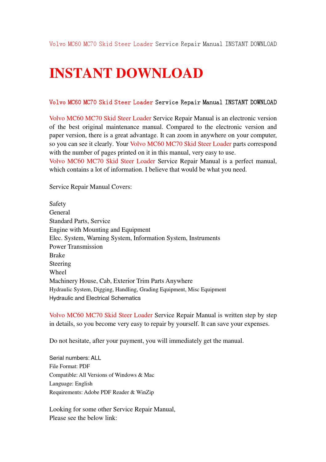 Volvo mc60 mc70 skid steer loader service repair manual instant