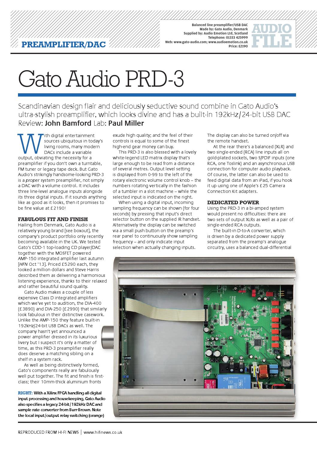 Low Noise Power Supply For Audio Circuits Gato Prd 3 Preamp Hifi News Review By Emotion Issuu